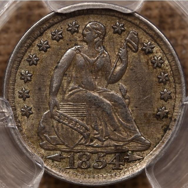 1854 Arrows Liberty Seated Half Dime PCGS AU55, cool clash marks