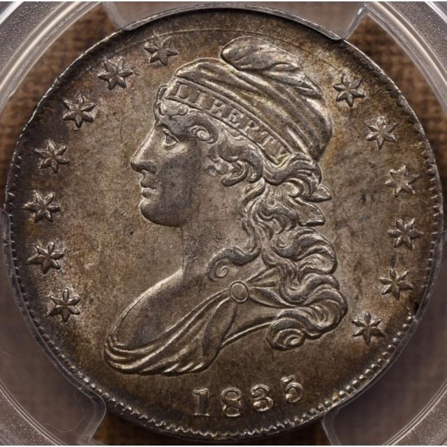 1835 O.108 Capped Bust Half Dollar PCGS AU58, Mint Error, Planchet Crack