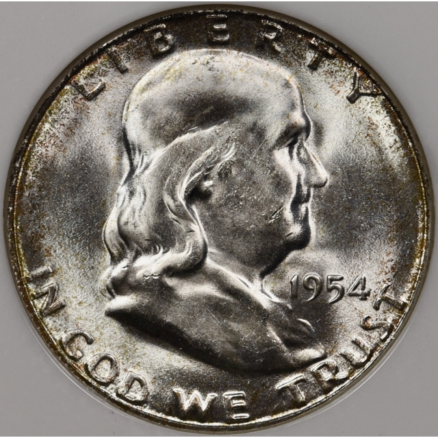 1954-S Franklin Half Dollar NGC MS65, perfect old Fatty holder