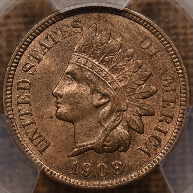 1908-S Indian Cent PCGS MS64 RB CAC