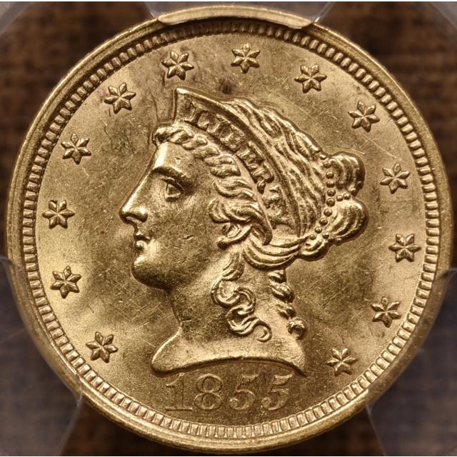 1855 $2.50 Liberty Head Quarter Eagle PCGS MS62 CAC
