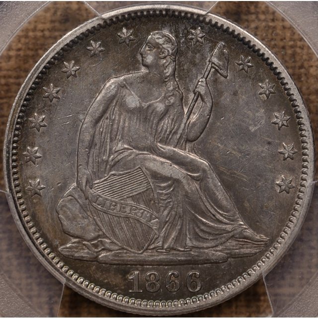 1866 Motto Liberty Seated Half Dollar PCGS XF45 CAC