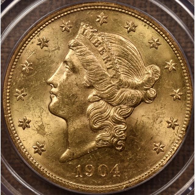 1904 $20 Liberty Head Double Eagle PCGS MS60 CAC Doily!