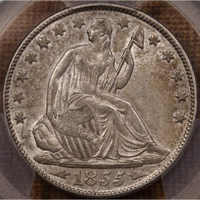 1855-O WB-6 Arrows Liberty Seated Half Dollar PCGS AU55 CAC