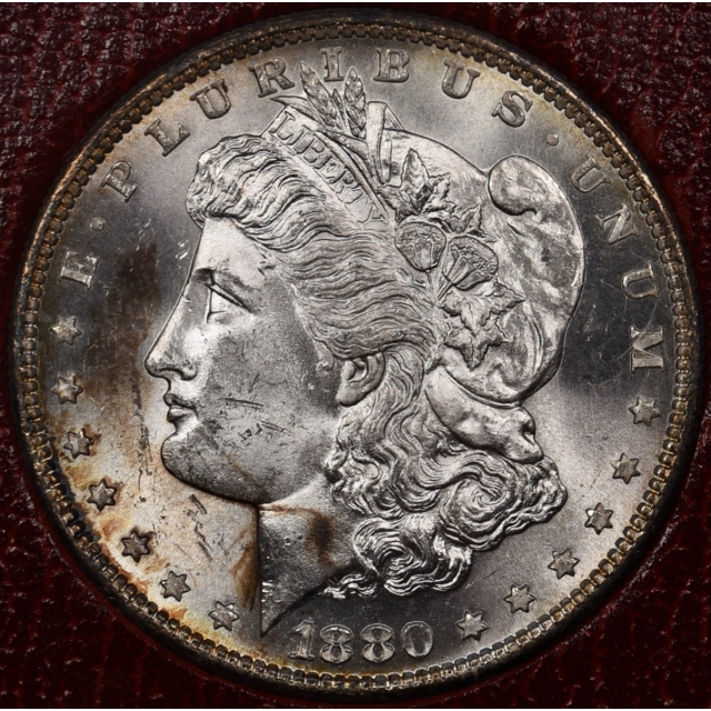 1880-S Redfield Morgan Dollar, Red MS65 holder