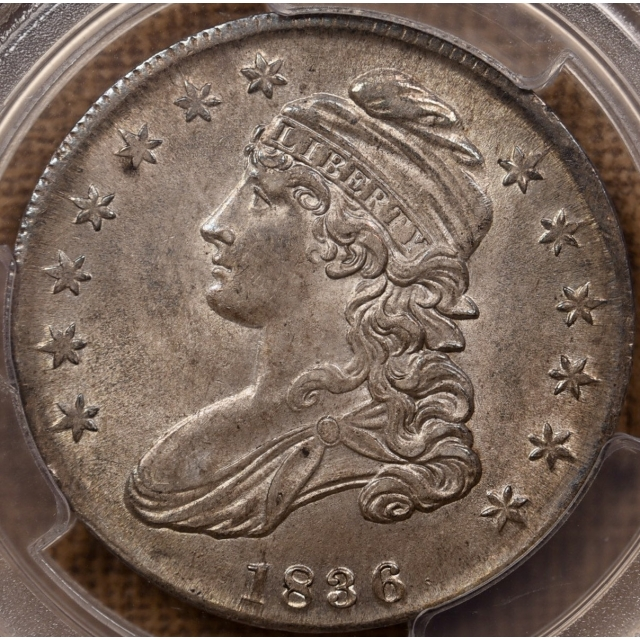 1836 O.117 Capped Bust Half Dollar PCGS AU58 CAC, ex. NGC MS61