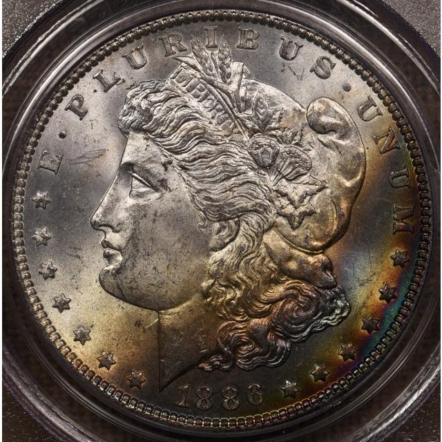 1886 Morgan Dollar PCGS MS64 CAC, Two-sided rainbow
