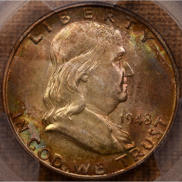 1948 Franklin Half Dollar PCGS MS65+FBL CAC, crazy color!