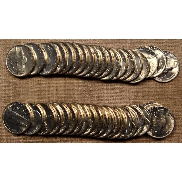 1943-D Original BU Jefferson Nickel roll, two of two