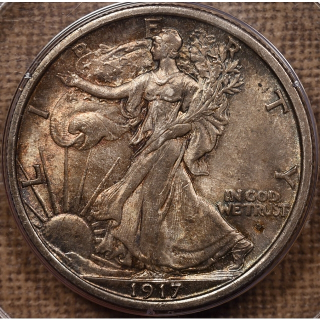 1917-D Obverse Walking Liberty Half Dollar PCGS MS62 Rattler CAC
