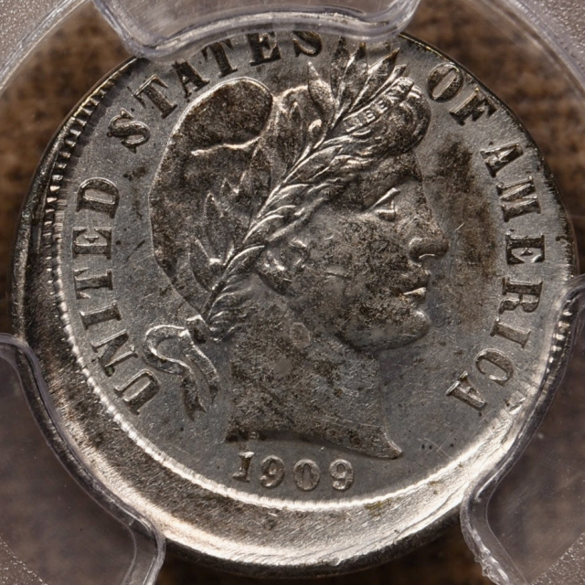 1909 Mint Error Barber Dime, 10% Off Center PCGS AU58