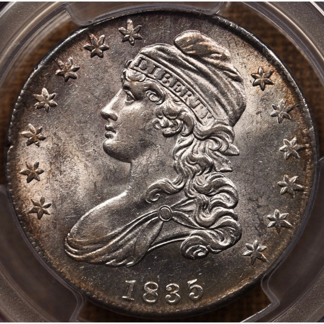 1835 O.105 Capped Bust Half Dollar PCGS AU58
