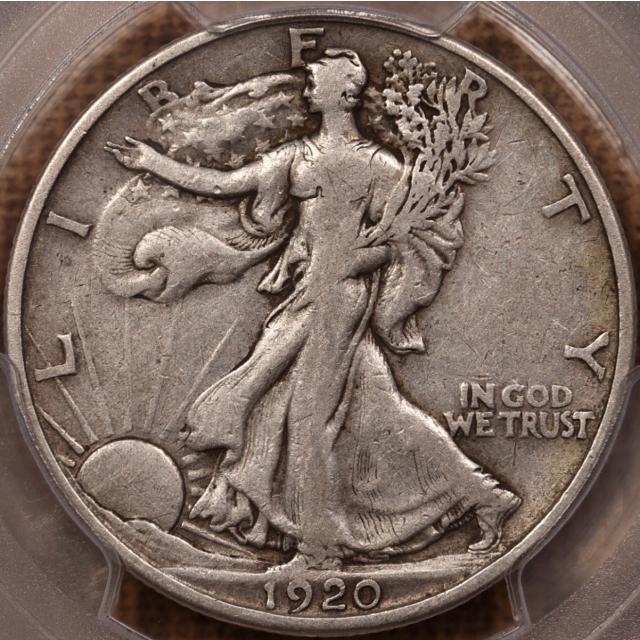 1920-D Walking Liberty Half Dollar PCGS VF25 CAC