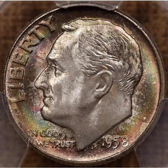 1958-D Roosevelt Dime PCGS MS66 FB, Mint Set toning