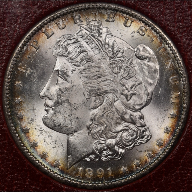 1891-S Redfield Morgan Dollar, Red MS65 holder