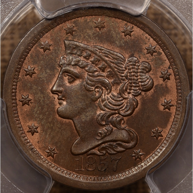 1857 Braided Hair Half Cent PCGS MS64 BN CAC