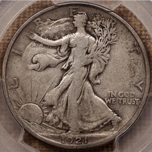1921-D Walking Liberty Half Dollar PCGS VF25 CAC, TIAN Collection