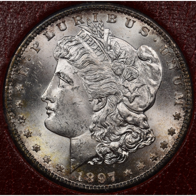 1897-S Redfield Morgan Dollar, Red MS65 holder