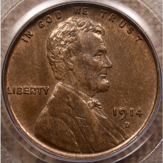 1914-D Lincoln Cent PCGS MS64RB OGH CAC