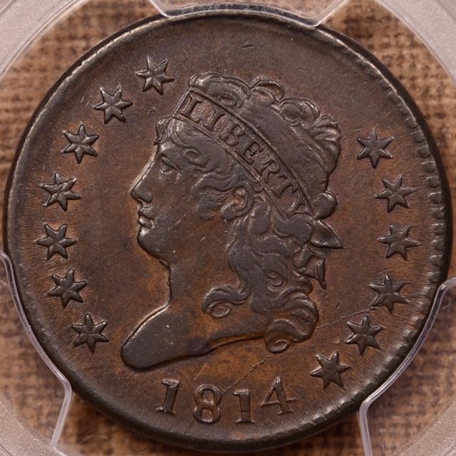 1814 S.295 Plain 4 Classic Head Cent PCGS AU53, EJ p3