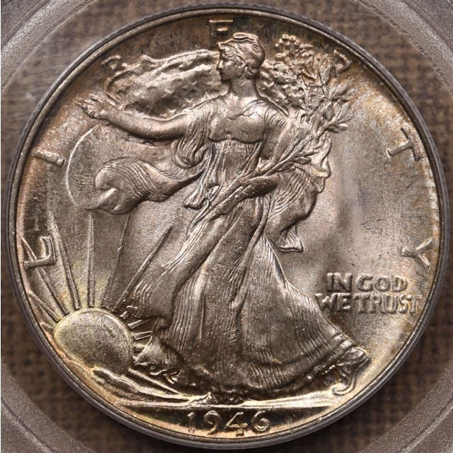 1946 Walking Liberty Half Dollar PCGS MS65 OGH, exceptional toning
