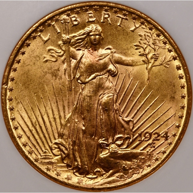 1924 $20 Saint Gaudens Double Eagle NGC MS63 CAC, No Barcode Fatty