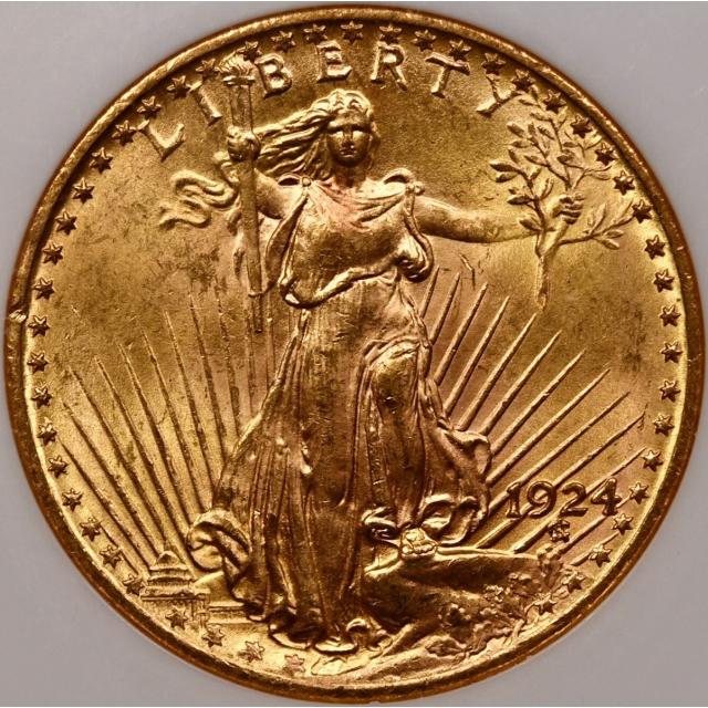 1924 $20 Saint Gaudens Double Eagle NGC MS63 CAC, No Barcode Fatty