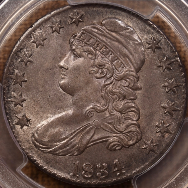 1834 O.101 Large Date, Large Letters Capped Bust Half Dollar PCGS MS63