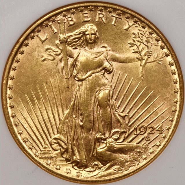 1924 $20 Saint Gaudens Double Eagle NGC AU58 CAC Fatty