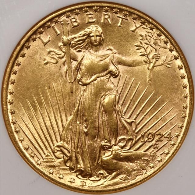 1924 $20 Saint Gaudens Double Eagle NGC AU58 CAC Fatty