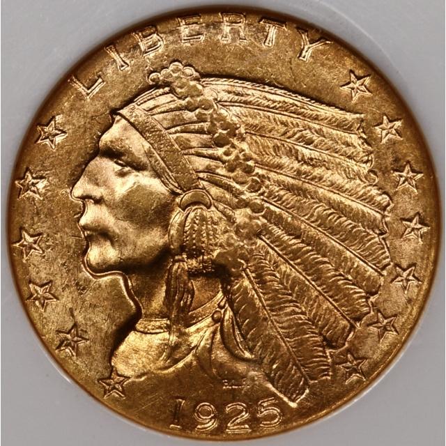 1925-D Indian $2.50 NGC MS63 CAC