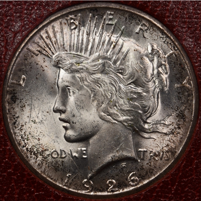 1926-S Redfield Peace Dollar, Red MS65 holder