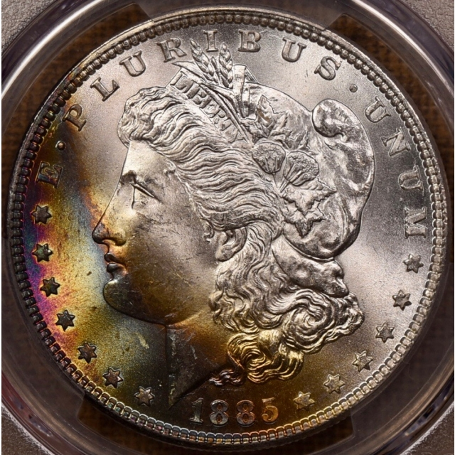 1885 Morgan Dollar PCGS MS65 fabulous obv bag toning