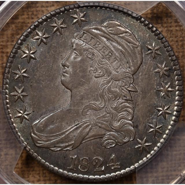 1824 O.115 Capped Bust Half Dollar PCGS AU58 CAC