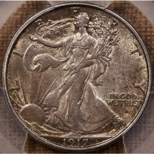 1917-S Obverse Walking Liberty Half Dollar PCGS AU58 CAC, TIAN collection