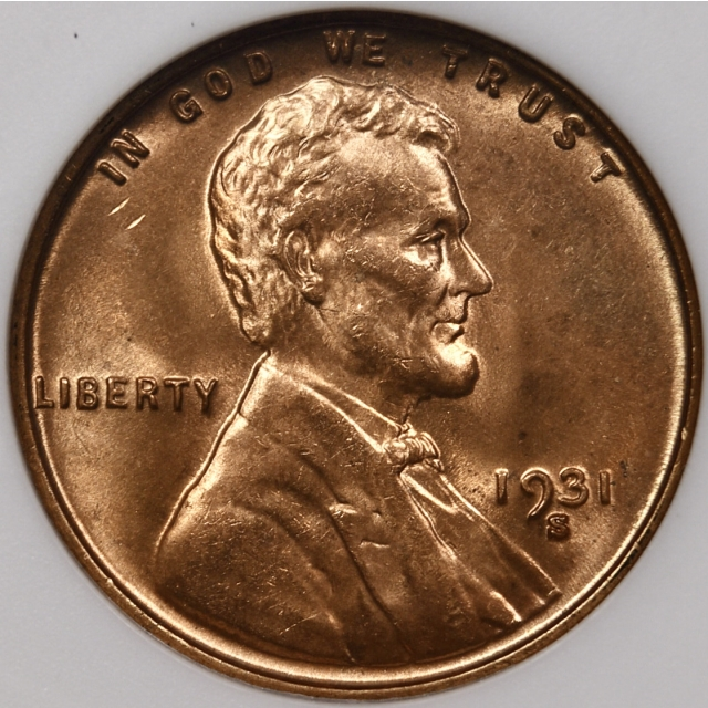 1931-S Lincoln Cent old ANACS MS65 RD, 1989 Collection