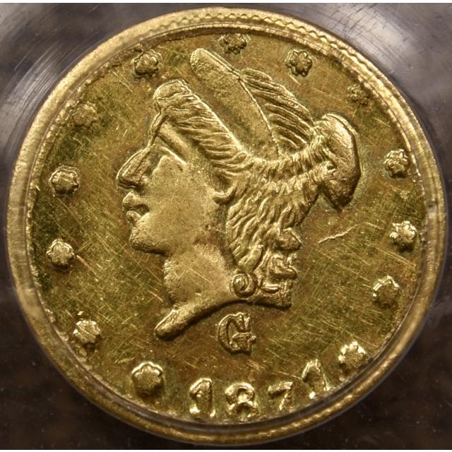1871 BG-838 Round California Fractional Gold 25c PCGS MS62