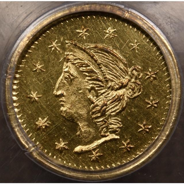 1870 BG-867 Round California Fractional Gold 25c PCGS MS63 PL