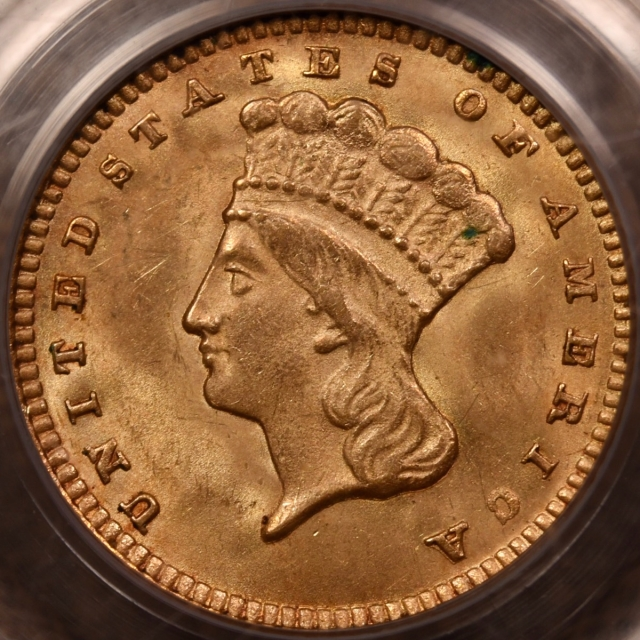 1874 Type 3 Gold Dollar PCGS MS62 OGH CAC