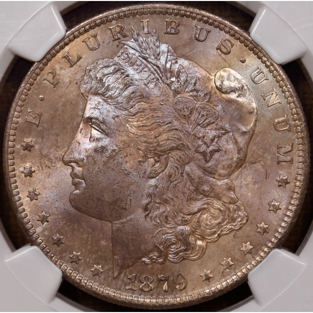 1879-S Morgan Dollar NGC MS64, stunning obverse color!