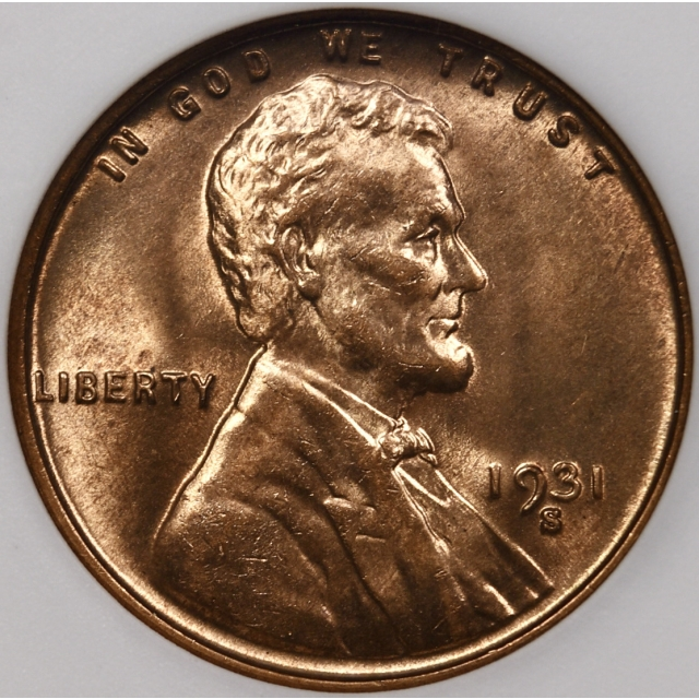 1931-S Lincoln Cent old ANACS MS65 RB, 1989 Collection