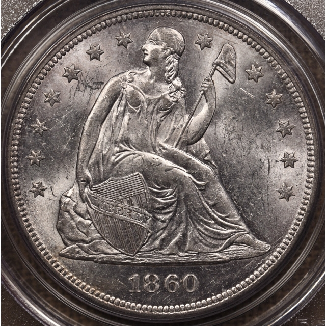 1860-O Liberty Seated Dollar PCGS MS61 CAC