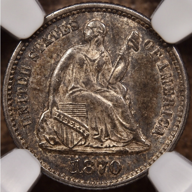 1870 Seated Half Dime NGC MS60, PQ+