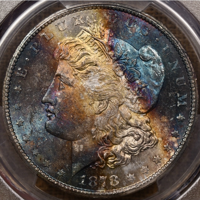1878-CC V-2B Morgan Dollar PCGS MS63 CAC, HOLY $#!& toning!