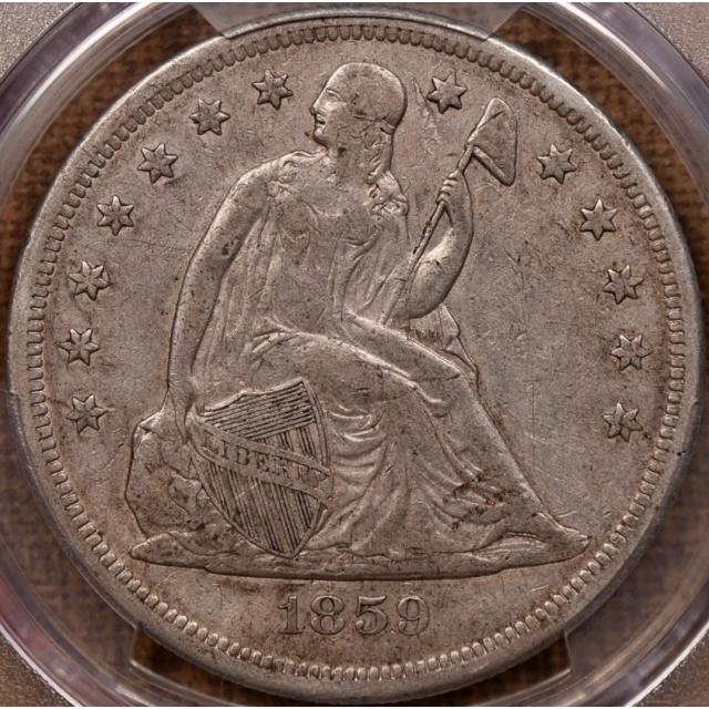 1859-O Liberty Seated Dollar PCGS XF45 CAC