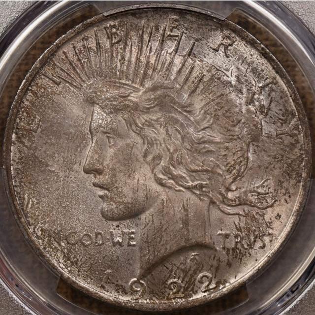 1922 Peace Dollar PCGS MS65, COLOR!