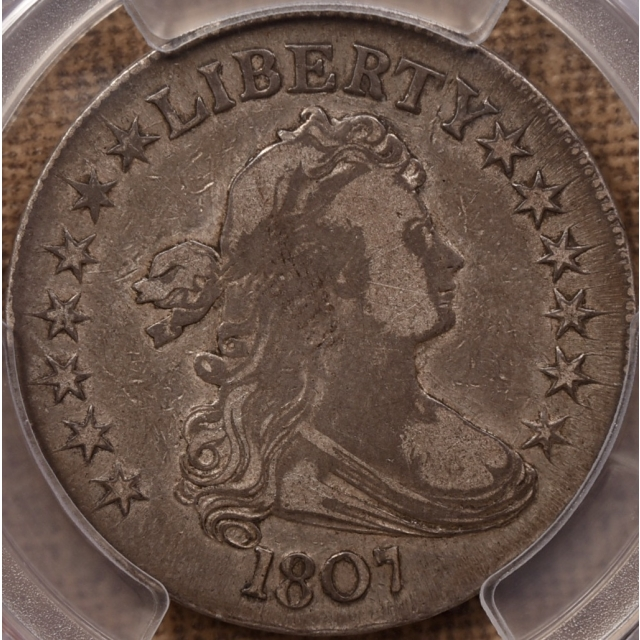 1807 O.103a T-11 Draped Bust Half Dollar PCGS F15 CAC, ex. Overton