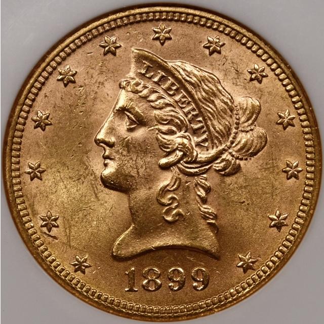 1899 $10 Liberty Head Eagle NGC MS61 CAC, No-barcode Fatty