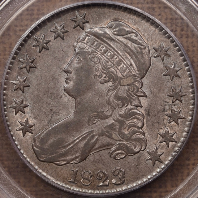 1823 O.101a Patched 3 Capped Bust Half Dollar PCGS AU55 CAC