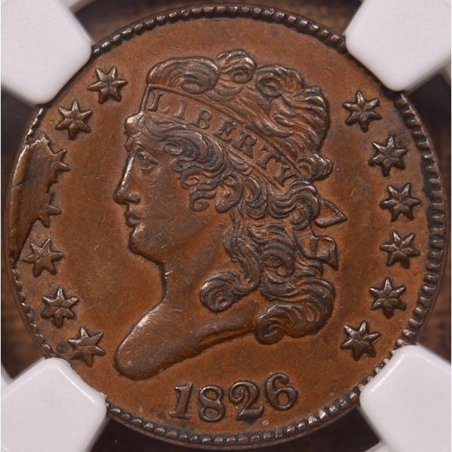 1826 C.2 Classic Head Half Cent NGC AU55 BN CAC